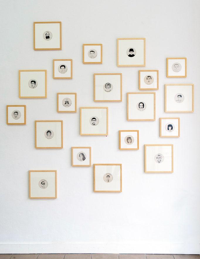 """Andrej Glusgold · """"Hall of Fame"""", Tusche auf Bierdeckel, 2012 - 2014"""