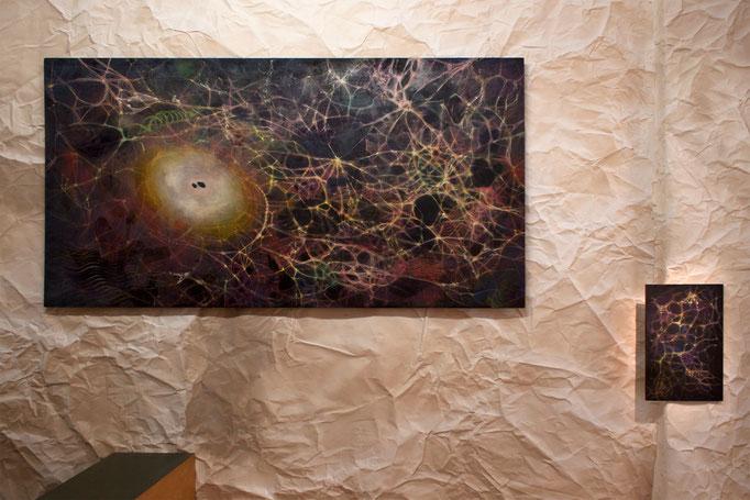 "Alke Brinkmann ""map of my mind"", 2017, Mixed Media auf Holz 110 cm x 240 cm · o.T., 2017 Mixed Media auf Holz, 55 x 35 cm"