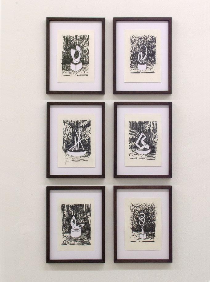 """""""Moderniste"""", Kohle auf Papier, Cutout, 30 x 20 each, 2016-2019"""