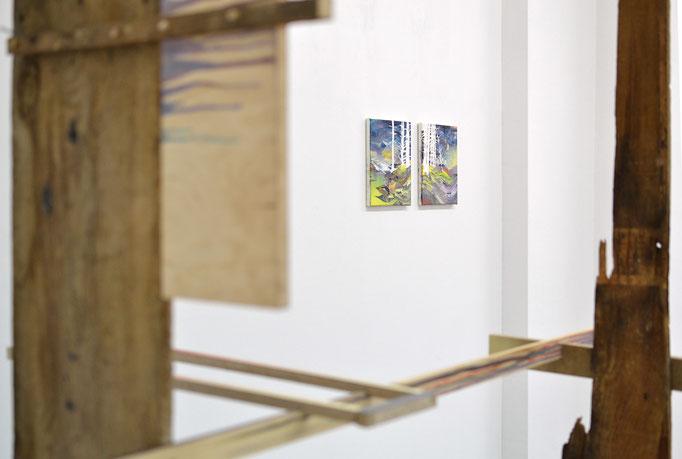 """""""Nadelwald I und II"""", Öl, Lack auf Leinwand, je 25 x 20cm, Ausstellungsansicht, Axel Obiger, Berlin, 2013"""
