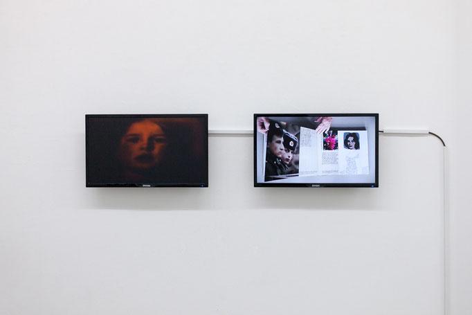 Marikke Heinz-Hoek · FLACKERN Videoloop, 2004 und DIE STUBE / EIN KÜNSTLERBUCH Videoloop, 2015