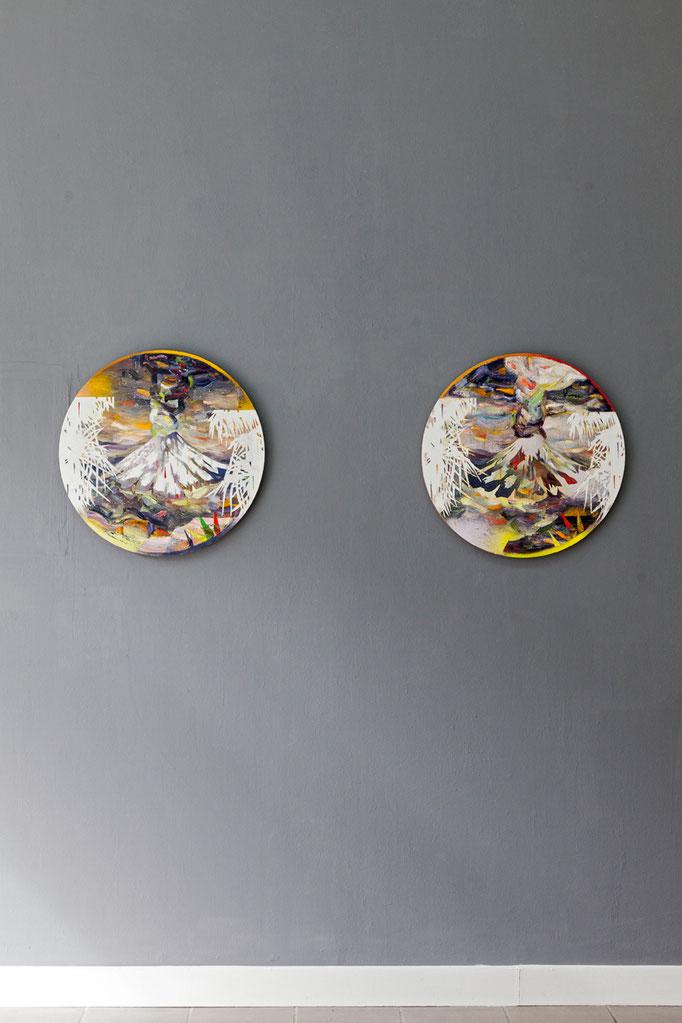 Matthias Moravek · Tambora II und I, Öl auf Leinwand, je 60 x 60 cm, 2017