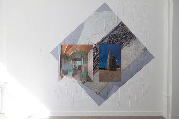 Juliane Duda neue welle, 2013-2017, Poster, 2 x 2 m diagonal 2,8 x 2,8 m Salamitaktik, 2013, Ilfochrome auf Aludibond, 100 x 94 cm Wohnheimsonate, 2013, Ilfochrome auf Aludibond, 100 x 58 cm