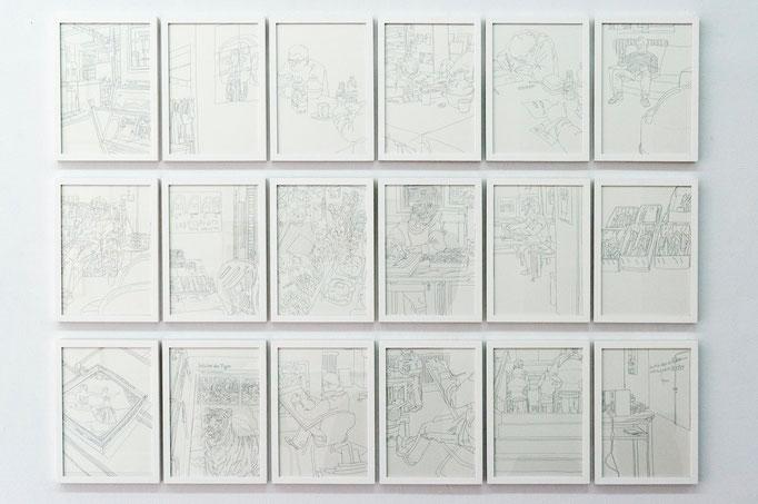 """Matthias Beckmann, aus der Zeichenserie """"Kunstatelier Lebenshilfe Braunschweig"""", Atelier für Outsider Kunst, 2011"""