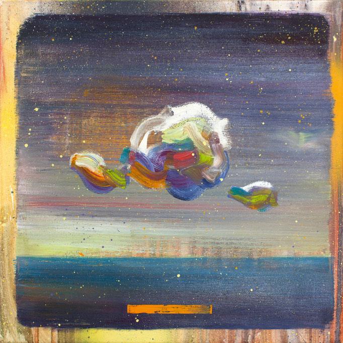 """""""Sky study III"""", Öl/Lwd, 35 x 35 cm, 2018"""