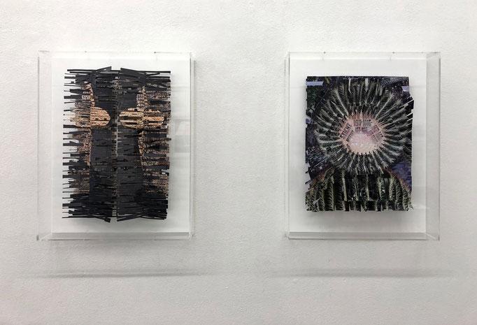 """Ina Geißler """"WER IMMER IST"""" und """"DER OFFENE BLICK"""" 2016, geschnittenes und gefaltetes Papier, Fotodruck, gerahmt 51 x 41 x 8 cm"""