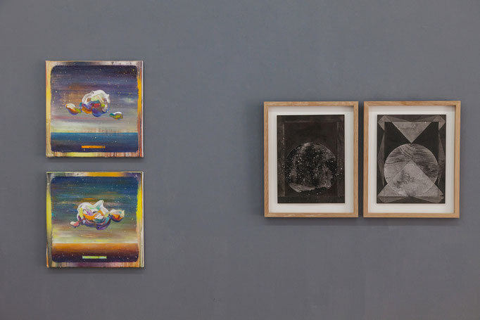 Matthias Moravek · Sky Study II & IV Öl auf Leinwand, 2018 | Wanda Stolle · o.T. Tusche auf Aquarellpapier, 2017
