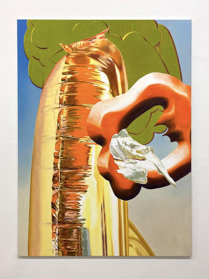 "Maja Rohwetter, ""flatbed upsetter"", Öl/Lw, 165 x 120 cm, 2020"