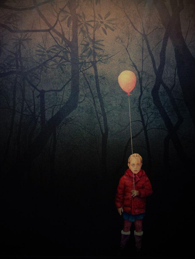 """Rückseite """"Isabelle und Luftballon"""" (Beleuchtung von vorn) /// Backside """"Isabelle"""" (front light)"""