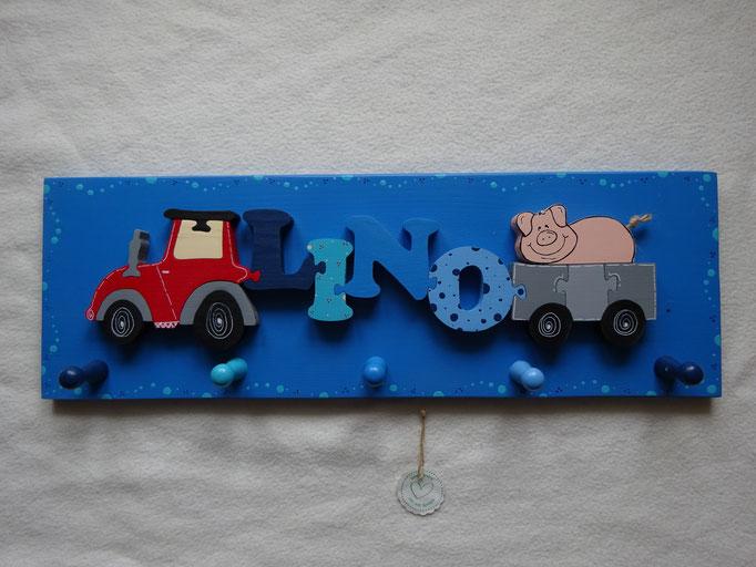 Traktor - NAME - Anhänger mit Schwein