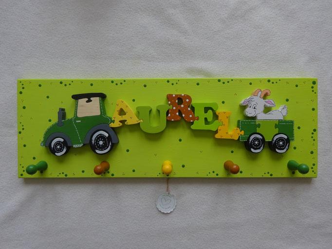 Traktor - NAME - Anhänger mit Ziege