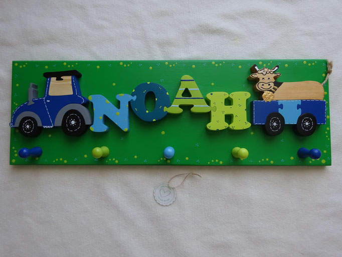 Traktor - NAME - Anhänger mit brauner Kuh