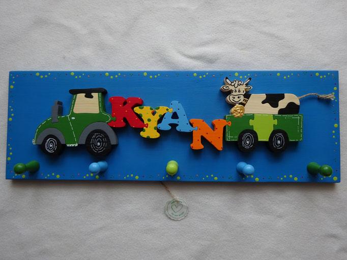 Traktor - NAME - Anhänger mit gefl. Kuh
