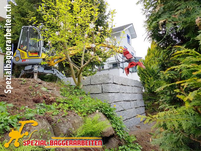 Spezial-Baggerarbeit Adrian Krieg  Telefon 079 586 32 47 Natursteinmauern Granitmauern Sandsteinmauern Felsbruchmauern Stützmauern