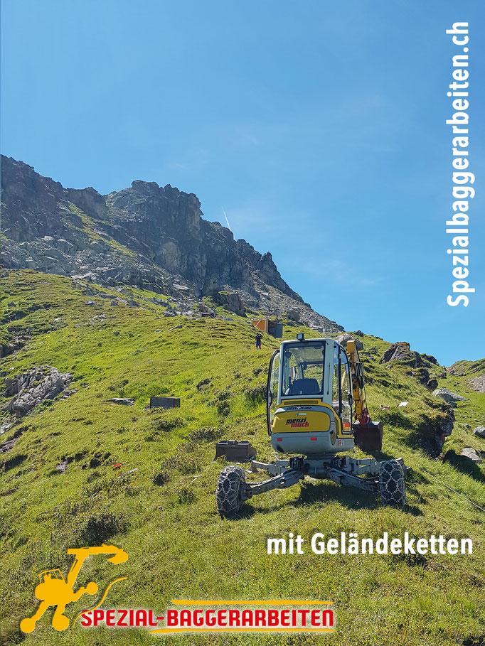 Spezialbaggerarbeiten Adrian Krieg  Telefon 079 586 32 47 Gebirgsbau Bergbau alpiner Bau Hangsicherung Felsabbau Seilbahnfundamentbau Schneekanonenfundament Mastfundament Strasse Weg