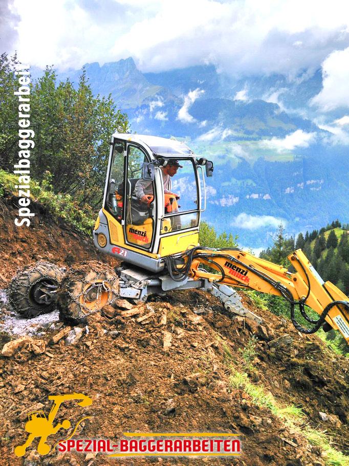 Spezial-Baggerarbeiten Adrian Krieg GmbH  Telefon 079 586 32 47 Gebirgsbau Bergbau alpiner Bau Hangsicherung Felsabbau Seilbahnfundamentbau Schneekanonenfundament Mastfundament Strasse Weg