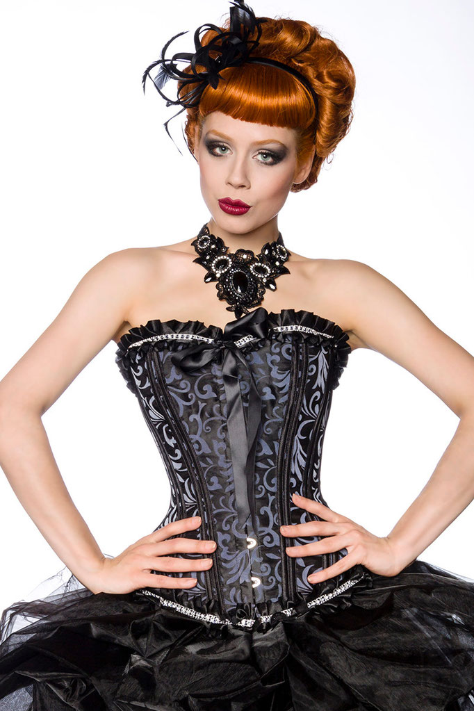Burlesque Corsage schwarz/Grau