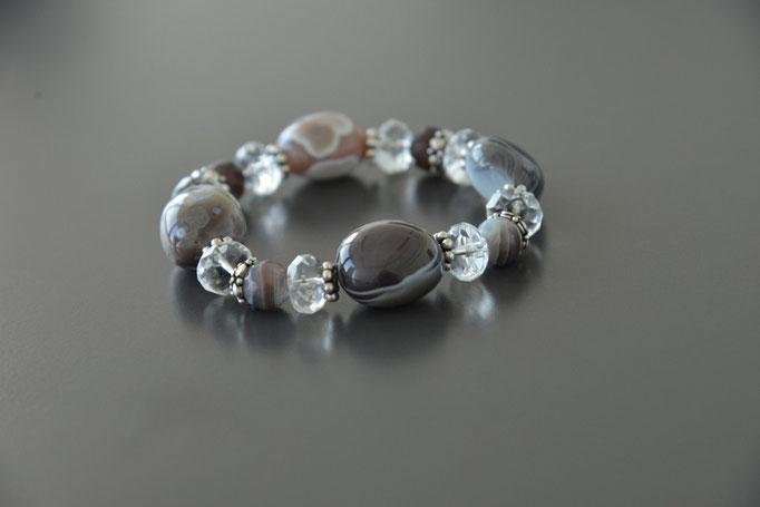Botswana Achat, Bergkristall, Silber