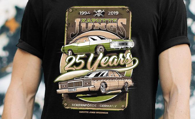 25 Jahre Kaputte Jungs - Shirt Design für Kaputte Jungs Speedwear GbR, Eckernförde