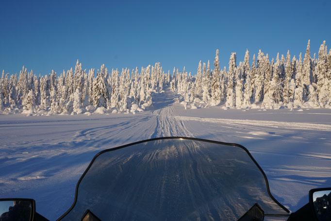 Unterwegs mit dem Schneemobil auf den Winterwegen Lapplands