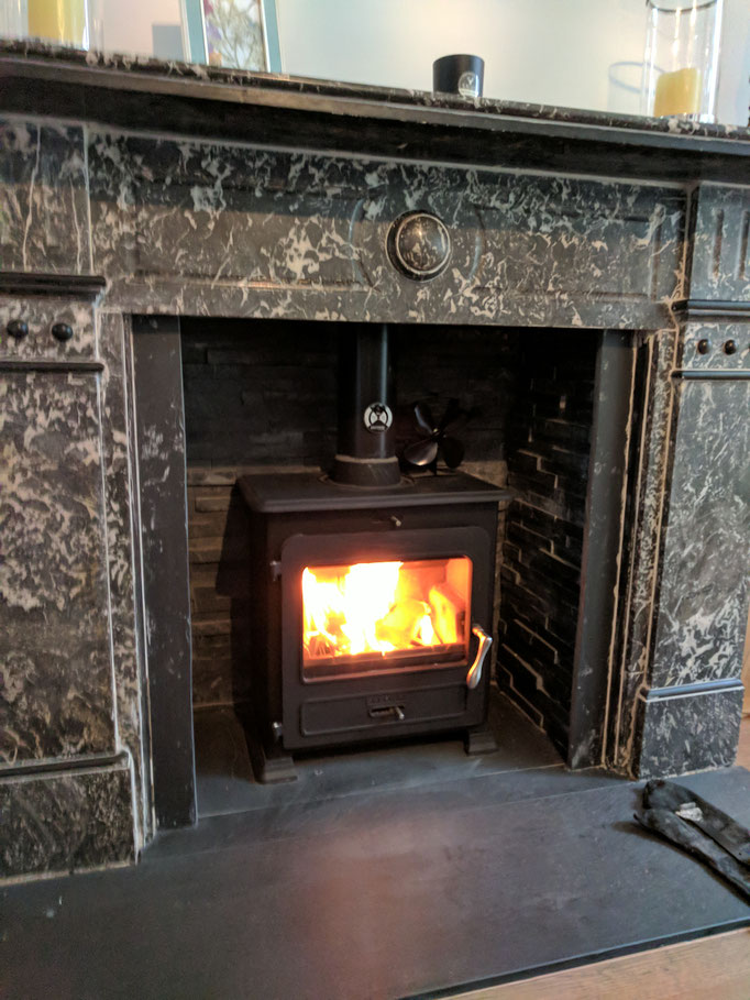 Elegant Victorian fireplace with ECO Black split faced slate  chamber panels