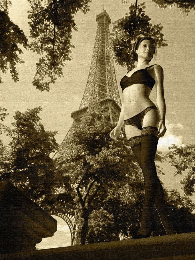Akt weiblich in schwarzen Dessous vor Eiffelturm, Kunst von Marcus Löhrer auf der Aachener Kunstroute 2019