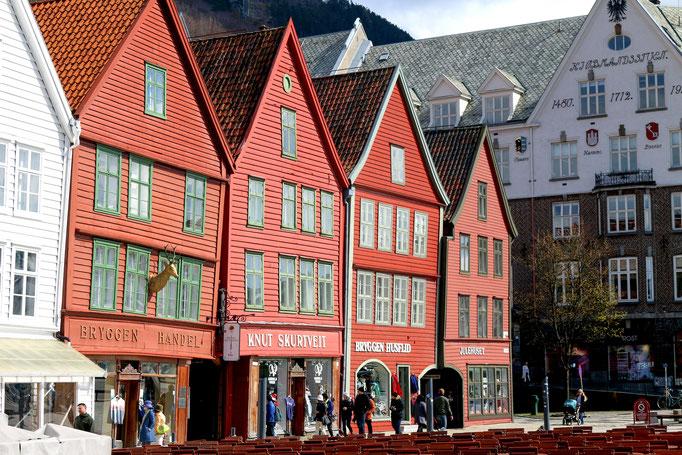 die alten Holzhäuser der Hanse in Bergen