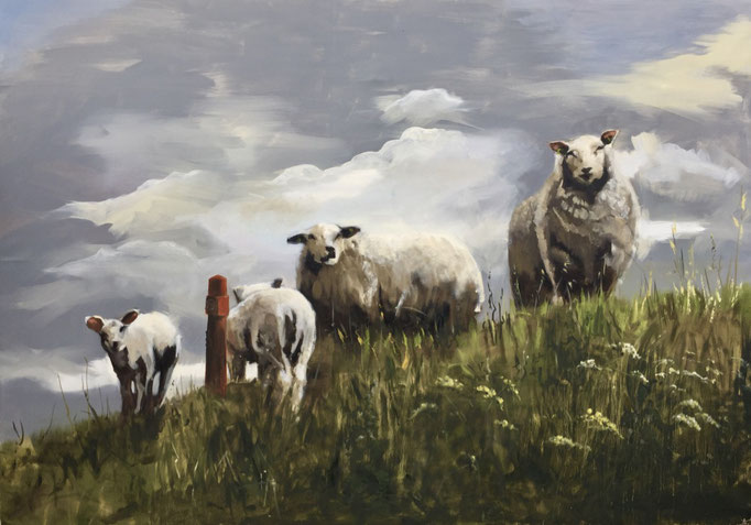 """Sheep on the dyke"", oil on canvas 140x200cm by Philine van der Vegte SOLD"