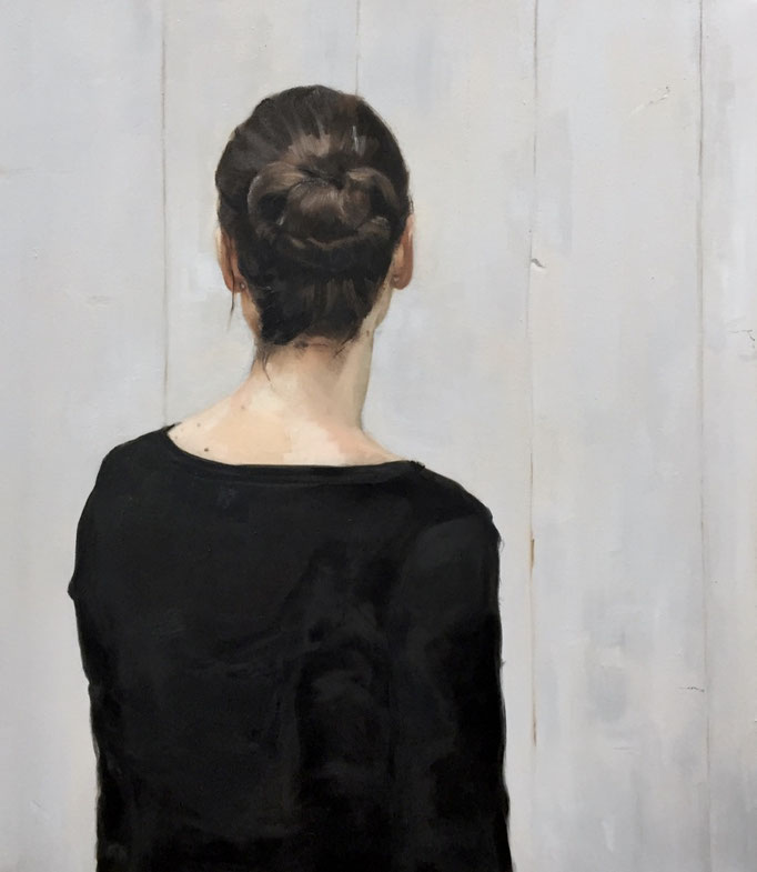 """Brenda"", oil painting of a young woman seen from behind, 70x60cm by portrait painter Philine van der Vegte SOLD"