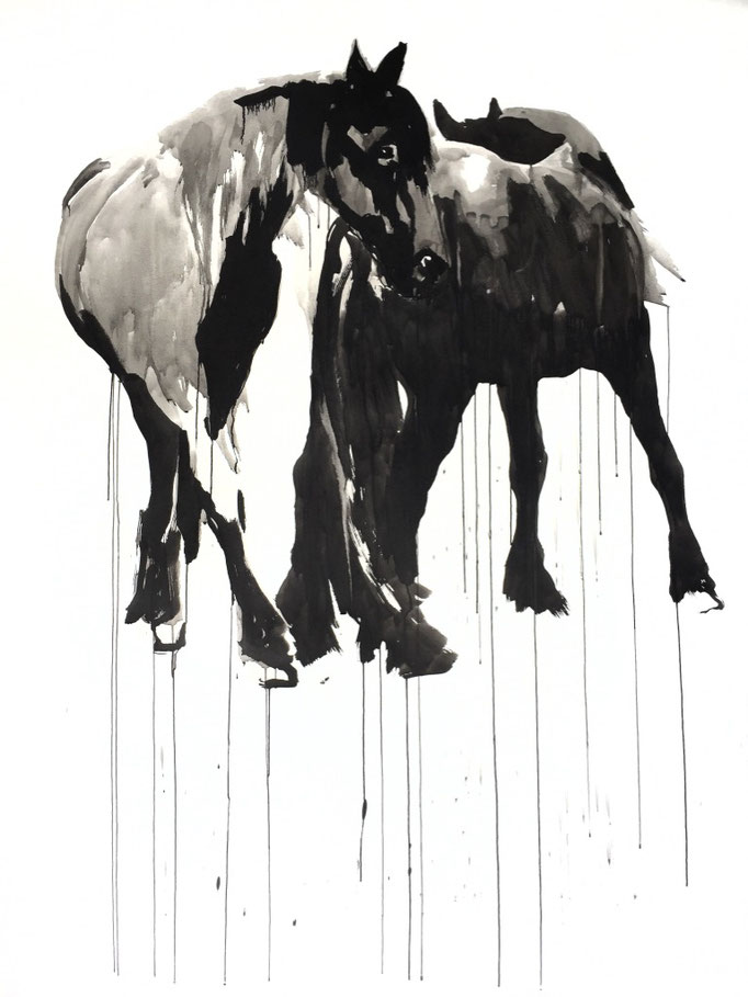 Horse study #2, ink on paper 200x150cm by Philine van der Vegte