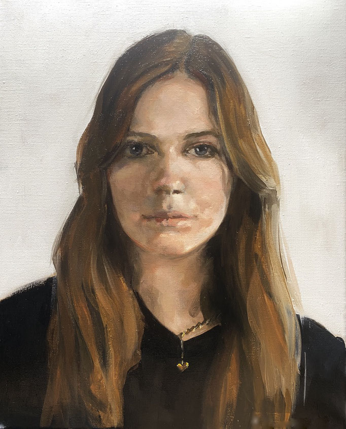 """""""Sarah"""", commissioned portrait in oil on linen 50x40cm SOLD"""