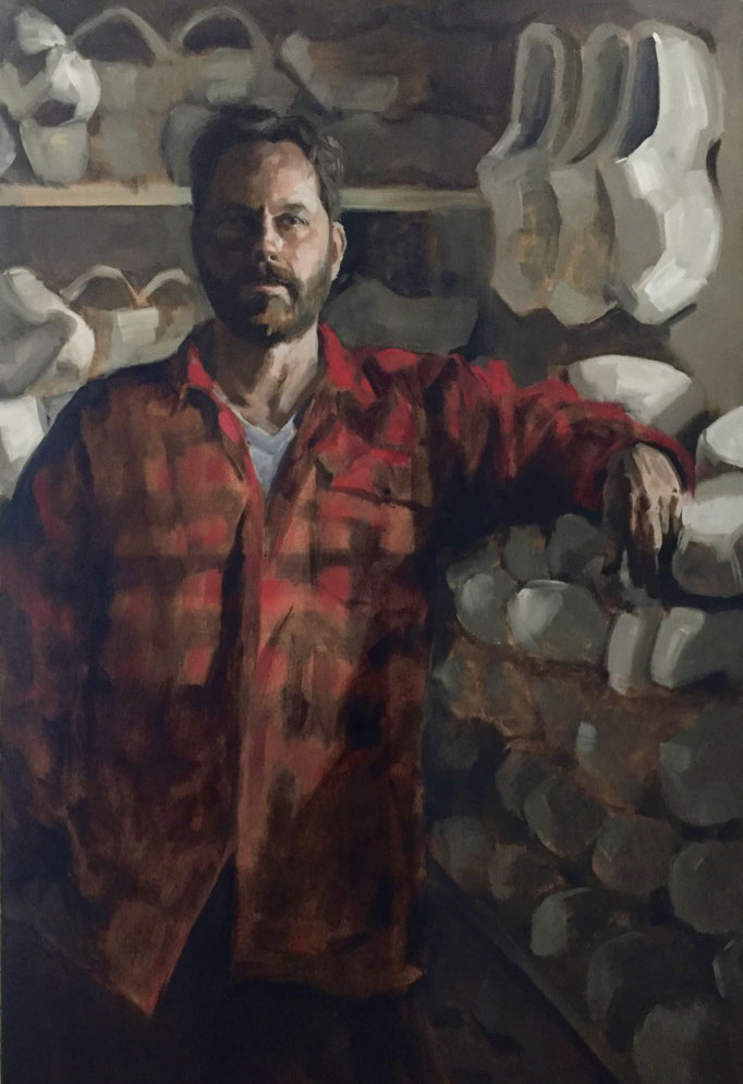 """""""Cheese and clogs"""", oil painting of a clog maker, 120x80cm by portrait painter Philine van der Vegte SOLD"""