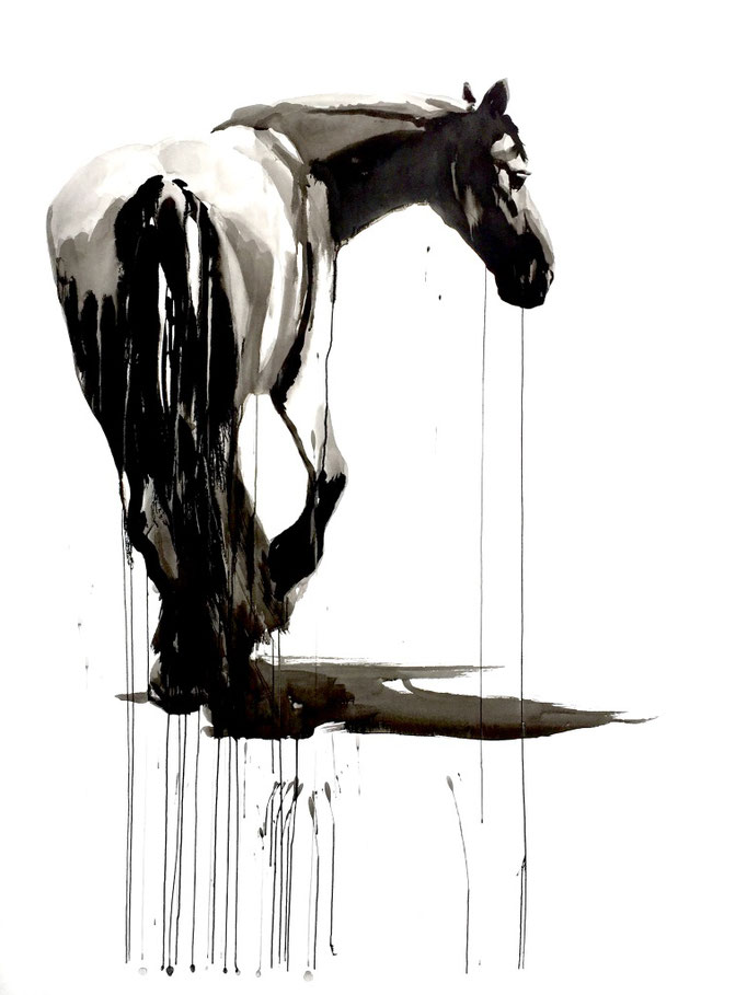 Horse study #3, ink on paper 200x150cm by Philine van der Vegte