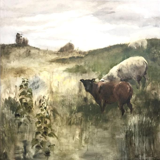 Zuiderzeedijk bij Katwoude, oil on canvas 200x200cm by Philine van der Vegte, SOLD
