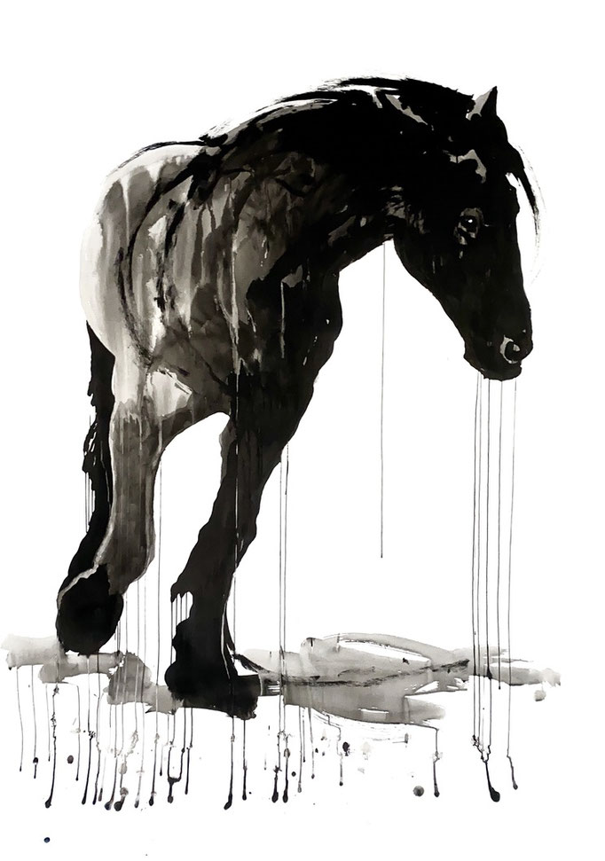 Horse study #9, ink on paper 200x150cm by Philine van der Vegte