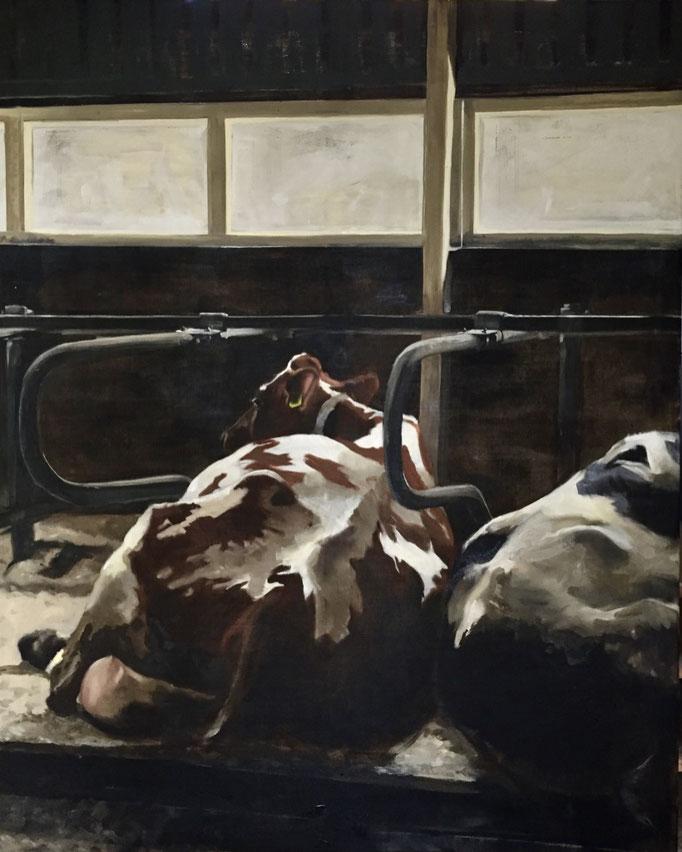 Dreaming of spring, oil on canvas 200x160cm by Philine van der Vegte