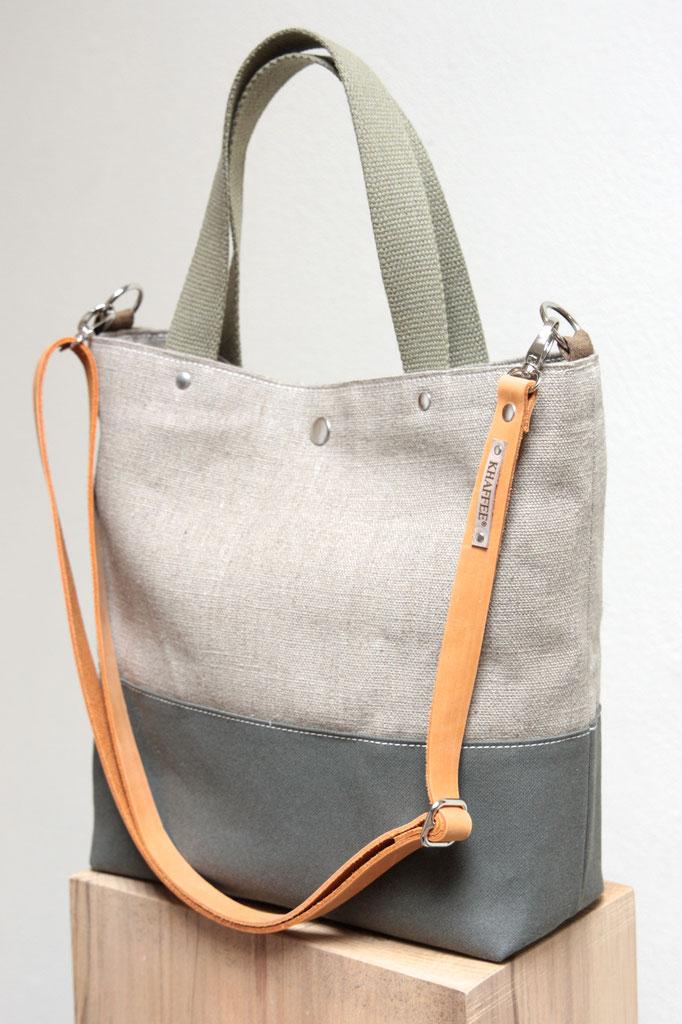 Canvas Tasche mit Leder, plastikfreie Henkeltasche / Umhängetasche aus Leinen mit Leder