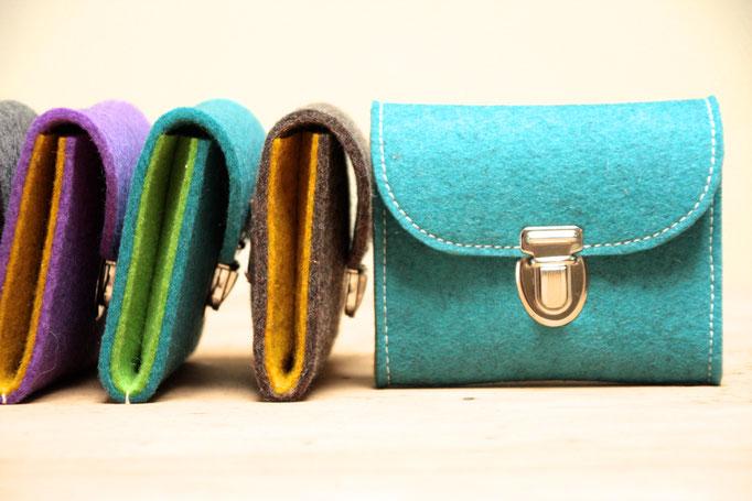 Kleine Geldbeutel aus Wollfilz 100% Wolle, ohne Plastik, biologisch abbaubar, in Deutschland handgefertigt
