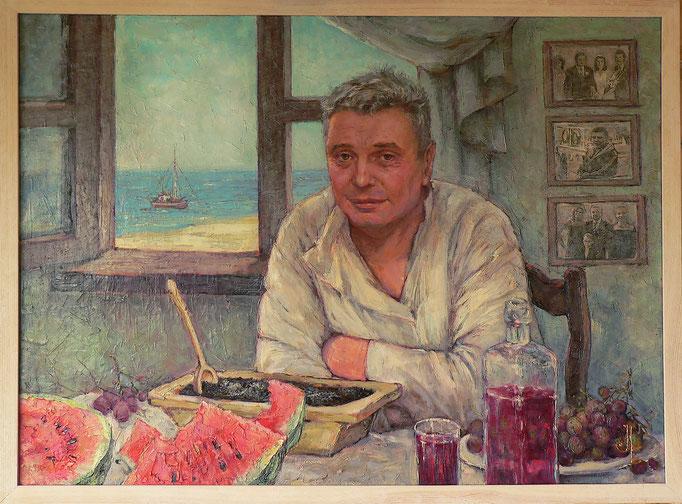 Портрет Сергея М. акр.,м.,инстоляция, холст на подрамнике, 50х70