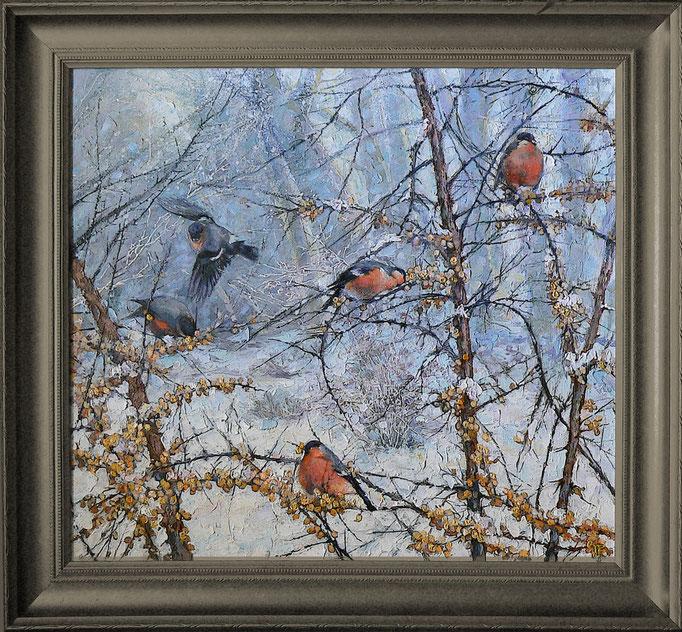 пять весёлых птиц ,х.,акр., м.,60х65
