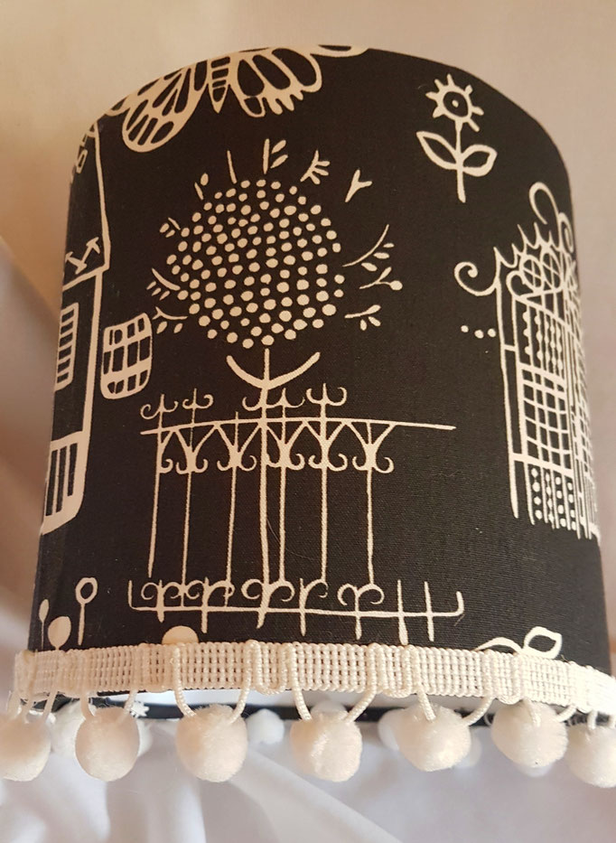 Designers Guild Boqueria Charcoal or pink lampshade with velvet pompoms 15cm diameter ceiling/lamp fitting £20