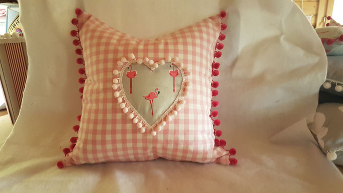 Laura Ashley gingham, Sophie Allport Flamingo, pompoms and 50cm feather pad £35