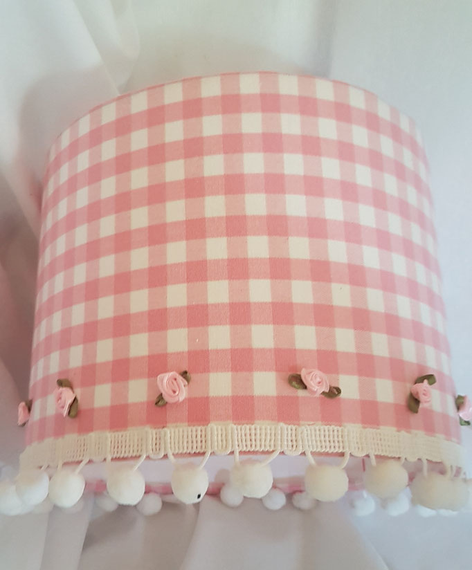 Laura Ashley chalk pink gingham with rosebuds and pompoms 25cm diameter £25
