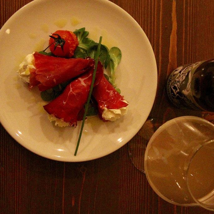 Pozzo Bianco - Birreria con cucina - Bergamo - Città Alta - Involtini di Bresaola e formaggio all'erba cipollina - Home Made
