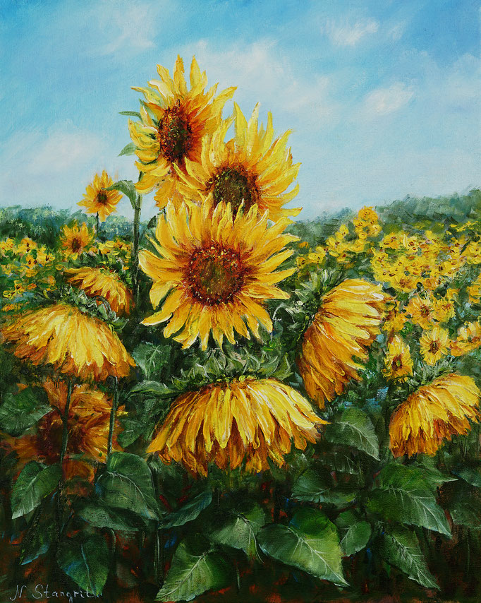 Sunfowers. Oil on canvas, 40x50cm, 01-2018.