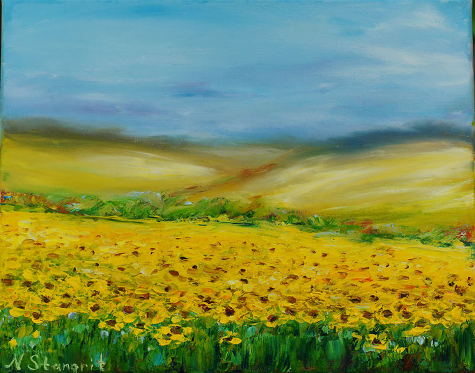 Yellow field Oil on canvas, 25x30 cm, 05-2017