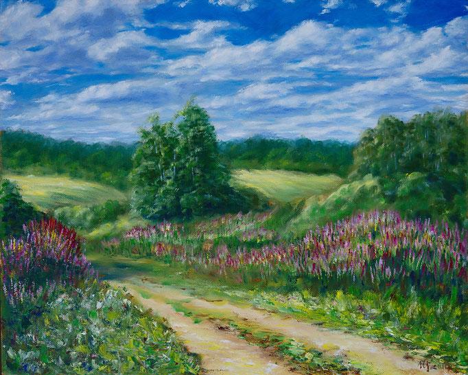"Village road. Oil on canvas, 16 x 20"" (50 x 60 cm), 2014."