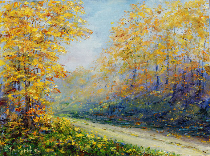 Yellow Fall Trees Oil on panel canvas, 30x40 cm,11-2015 #art #autumn #fall