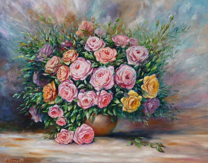 Bouquet of roses. Sold! Oil on canvas. 70x90 cm. 05-2017