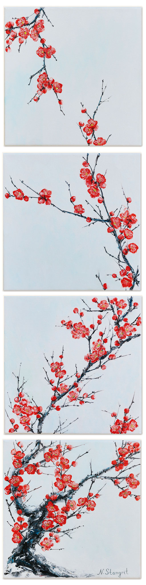 Sold! Sakura. Oil on canvas. 4 pc. 25x25cm 2016